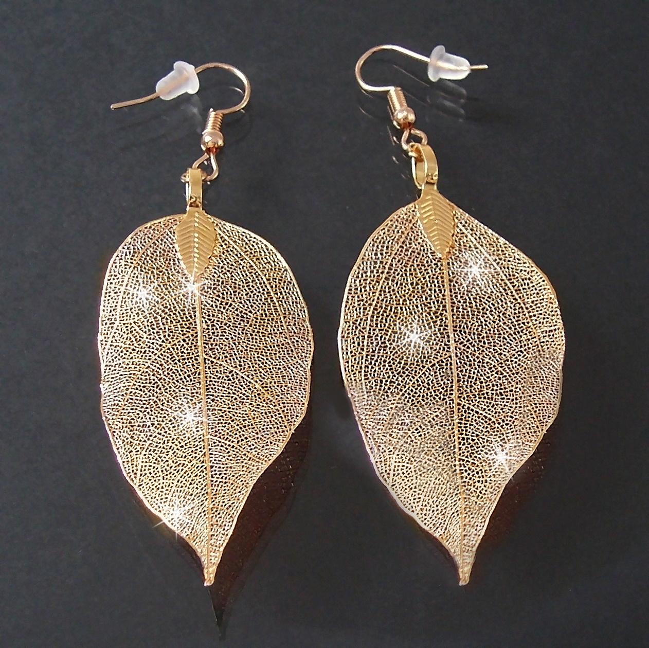 Ohrringe Anhänger Blatt glitzerfrosted Gold Blattohrringe 4cm O77753