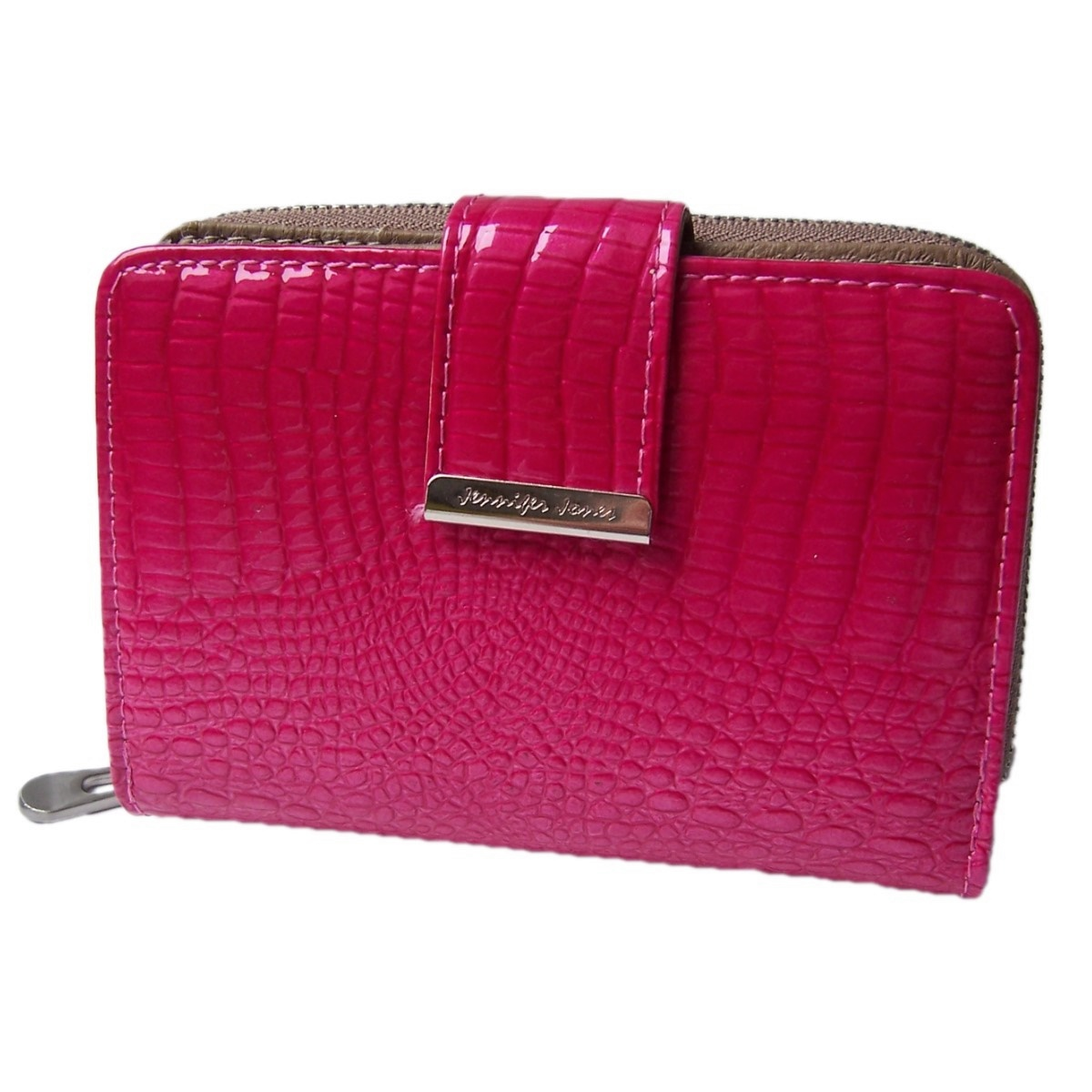Po2041 Damen Portemonnaie Leder Jennnifer Jones Pink Kroko Lackleder