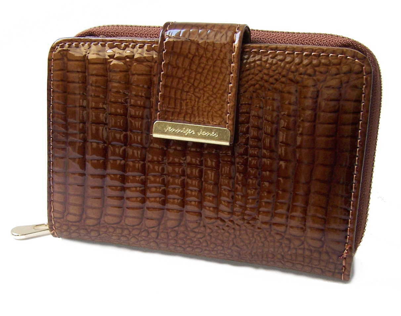 Po2215 Damen Portemonnaie Leder JennniferJones Cognac Lackleder
