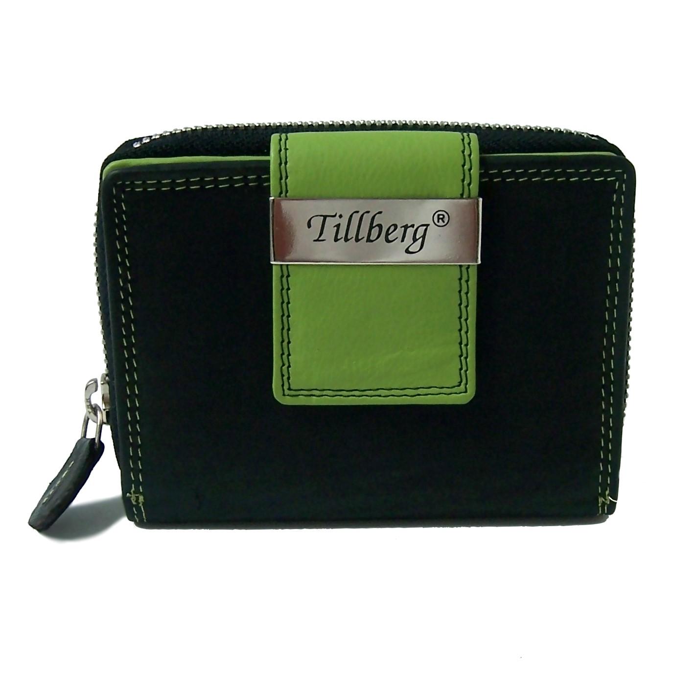 Geldbörse Damen Portemonnaie echt Leder schwarz grün Tillberg Po2249