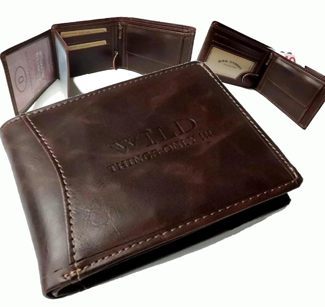 Herren Portemonnaie Leder-Look Geldbörse Bag Street antikbraun Po2417