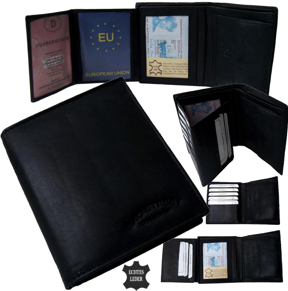 Geldbörse Herren Portemonnaie schwarz echt Leder Bag street Po2618
