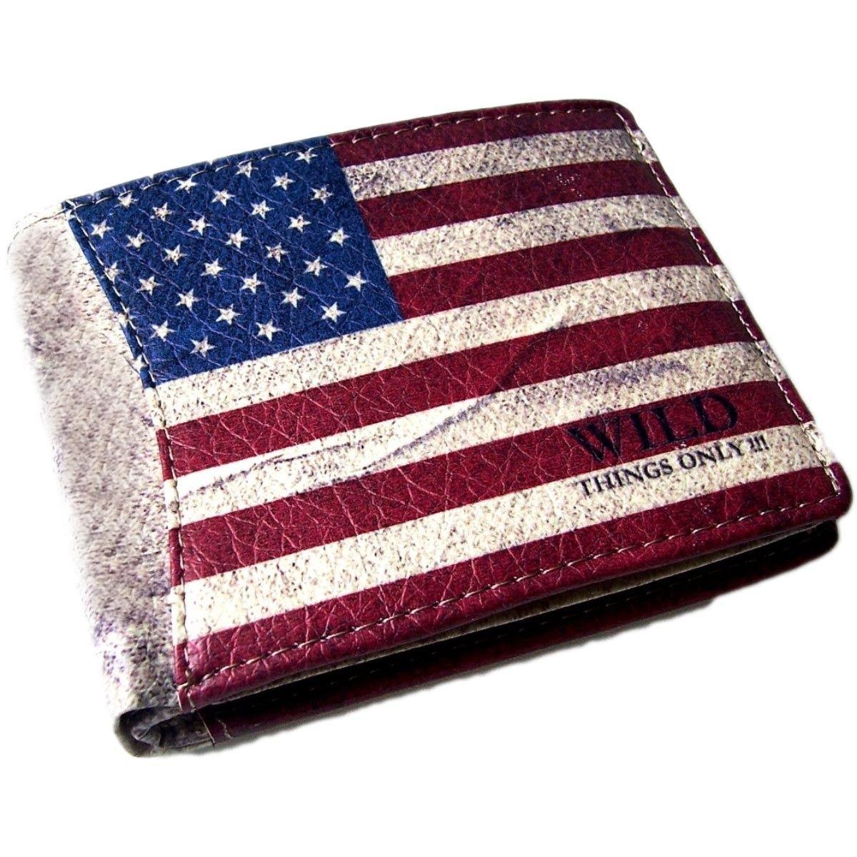 Portemonnaie LederLook WildThings Amerika Querformat Bügel Po627