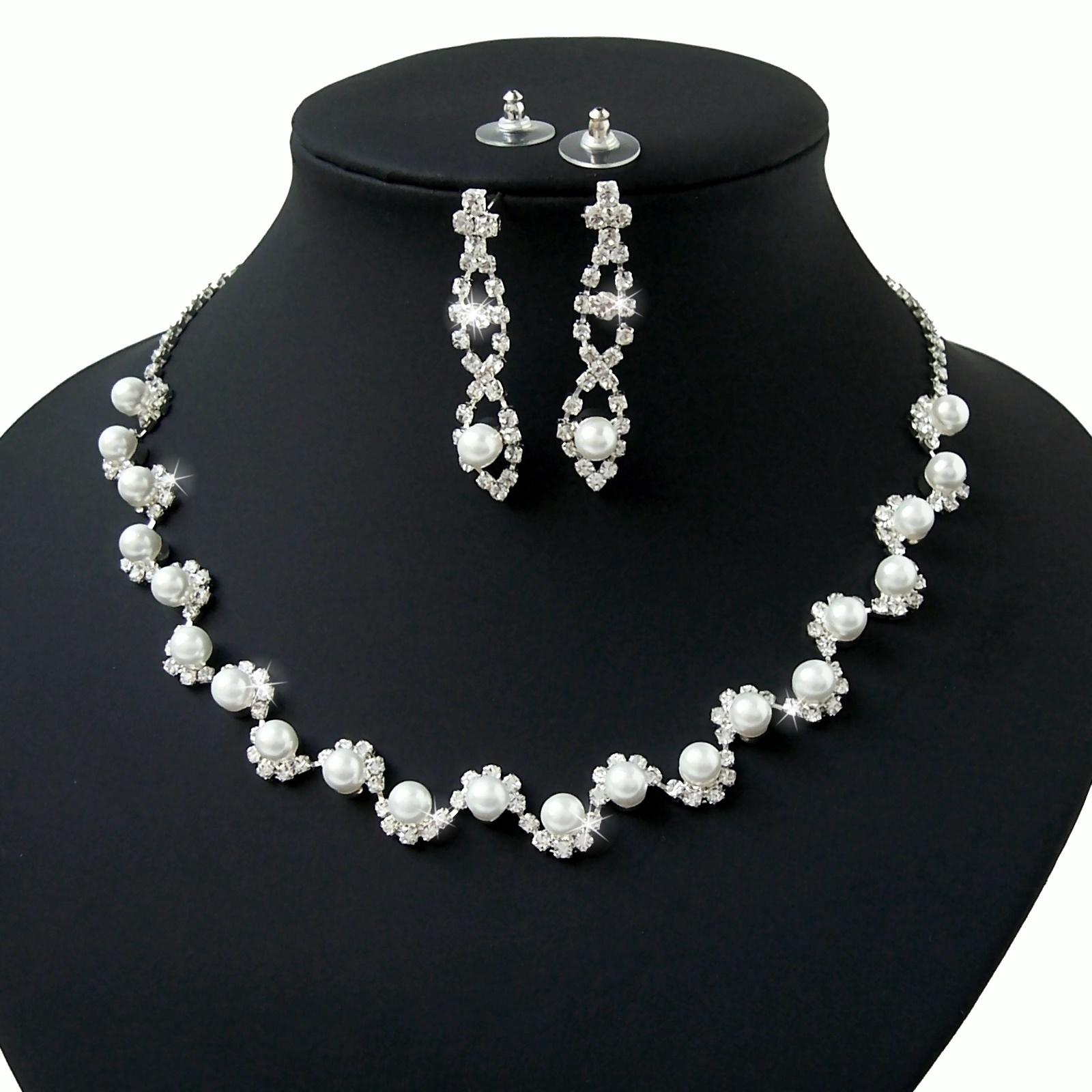 Collier Kette 41-55 Ohrringe Perlen weiß silber Schmuckset Braut S1002