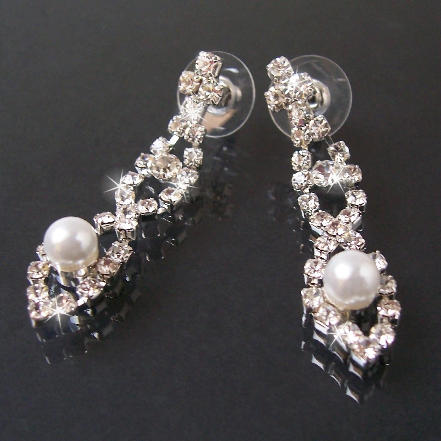 Stern Perlen Silber Eiskristall Metall Weiß Weihnachten: Collier Kette 41-55cm Ohrringe Perlen Weiß Silber