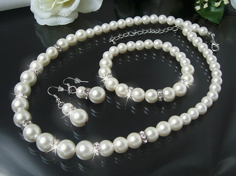 Schmuckset Collier Ohrringe Armband 3-Teile Perlen cremeweiß S1233