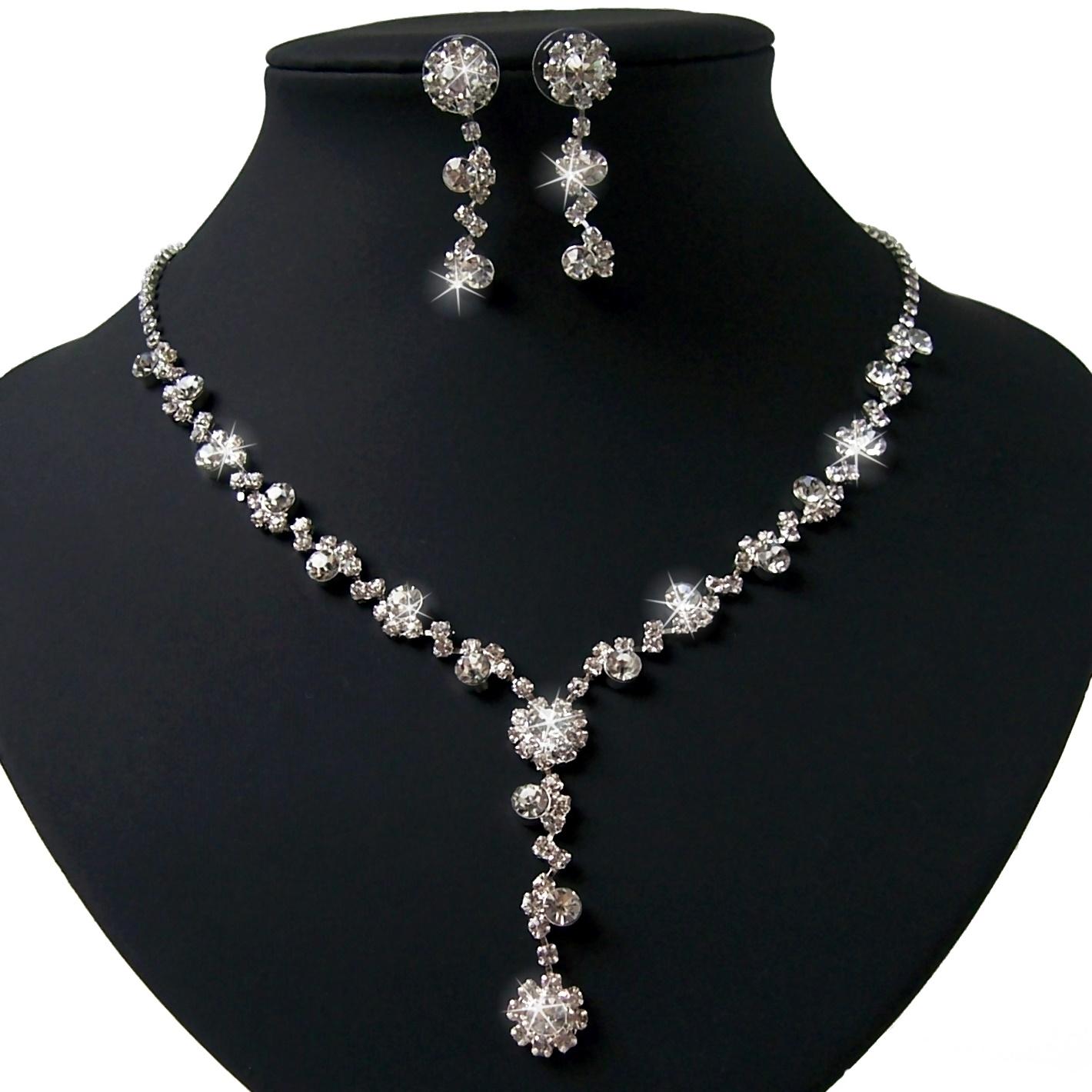 Schmuckset Collier Kette Ohrringe Silber plattiert Hochzeit S1243