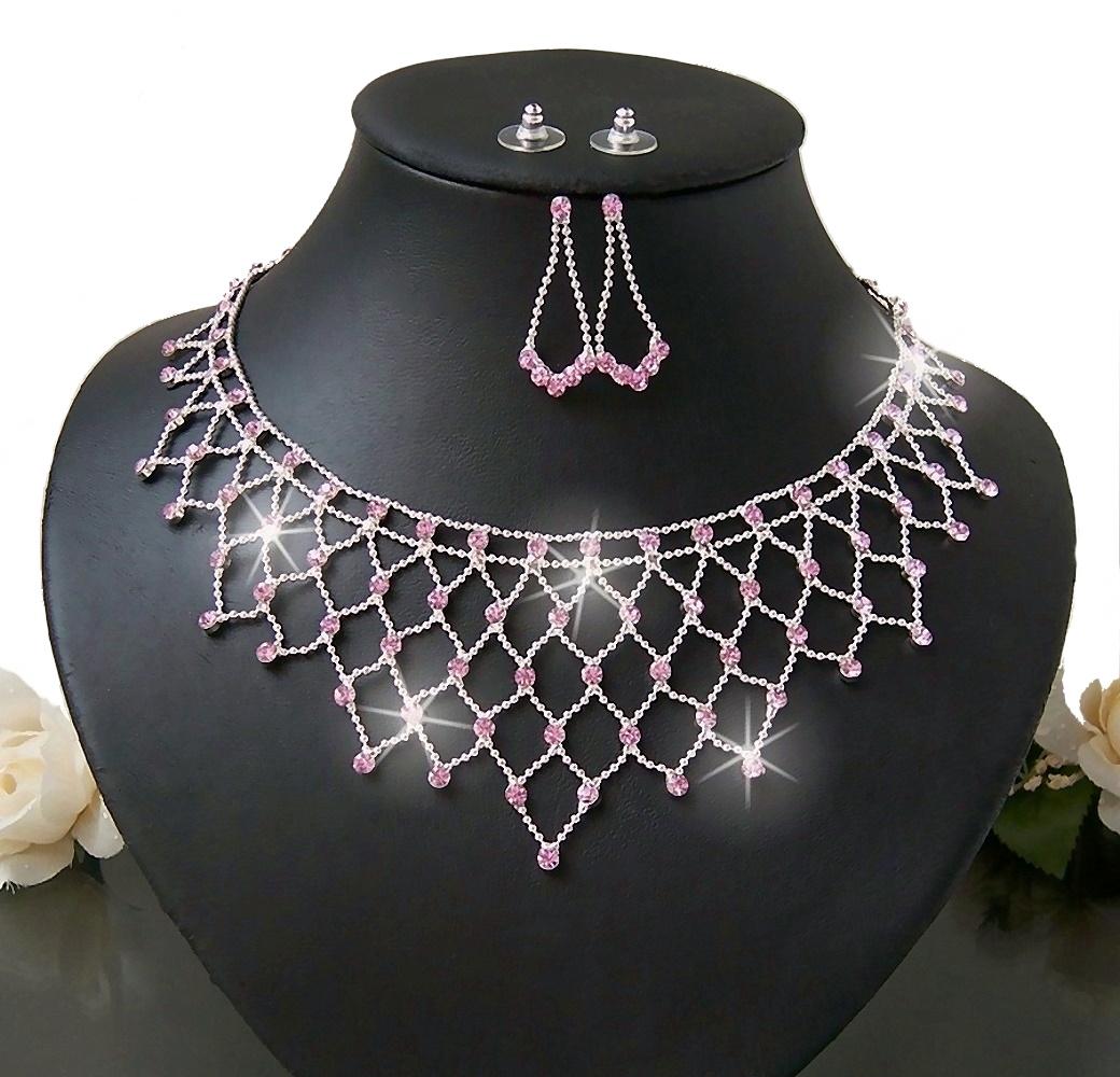 Schmuckset Kette Collier Ohrringe Strass rosa Orient Hochzeit S1263
