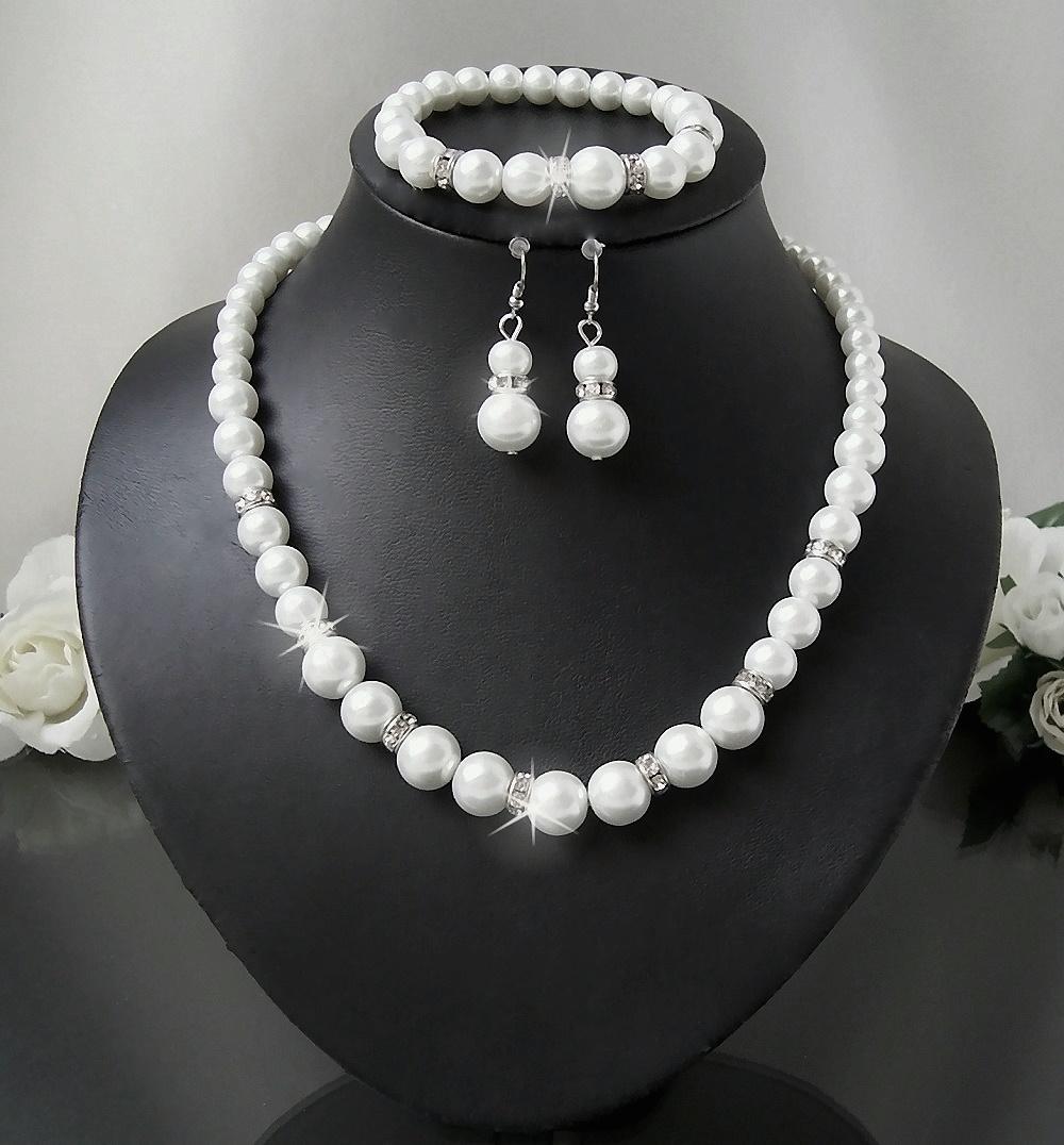 Brautschmuck perlenkette  Perlenkette Collier Armband Ohrringe Weiss Perlen Schmuck Braut S1404#