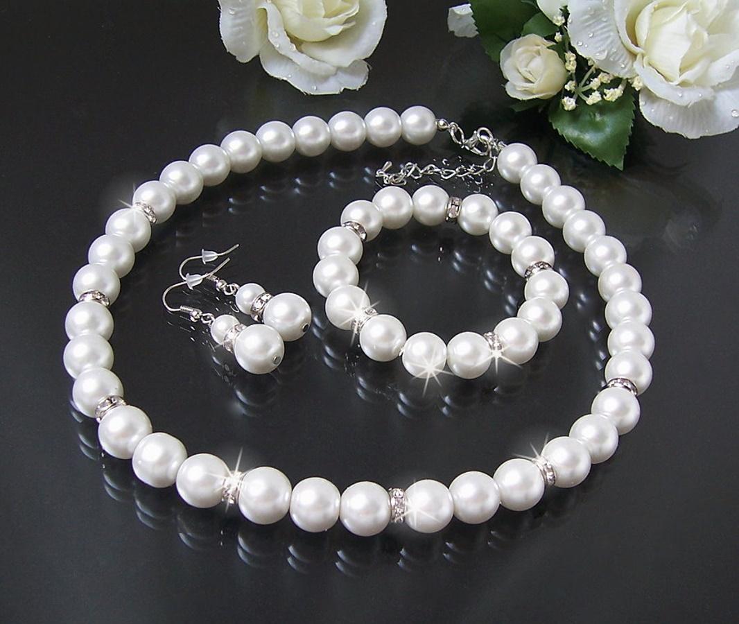 Schmuck Set Kette Armband Ohrringe 12mm Perlen Weiß 3Teile Braut S1447