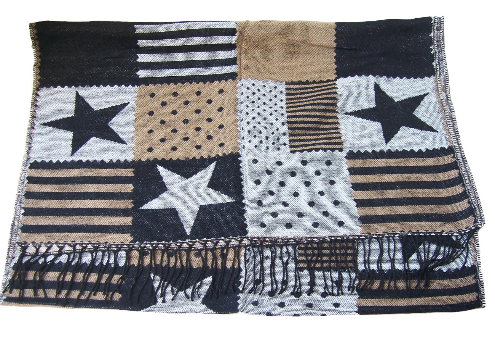 Schal Winterschal Stars and Stripes Sterne 180cm schwarz grau T2842