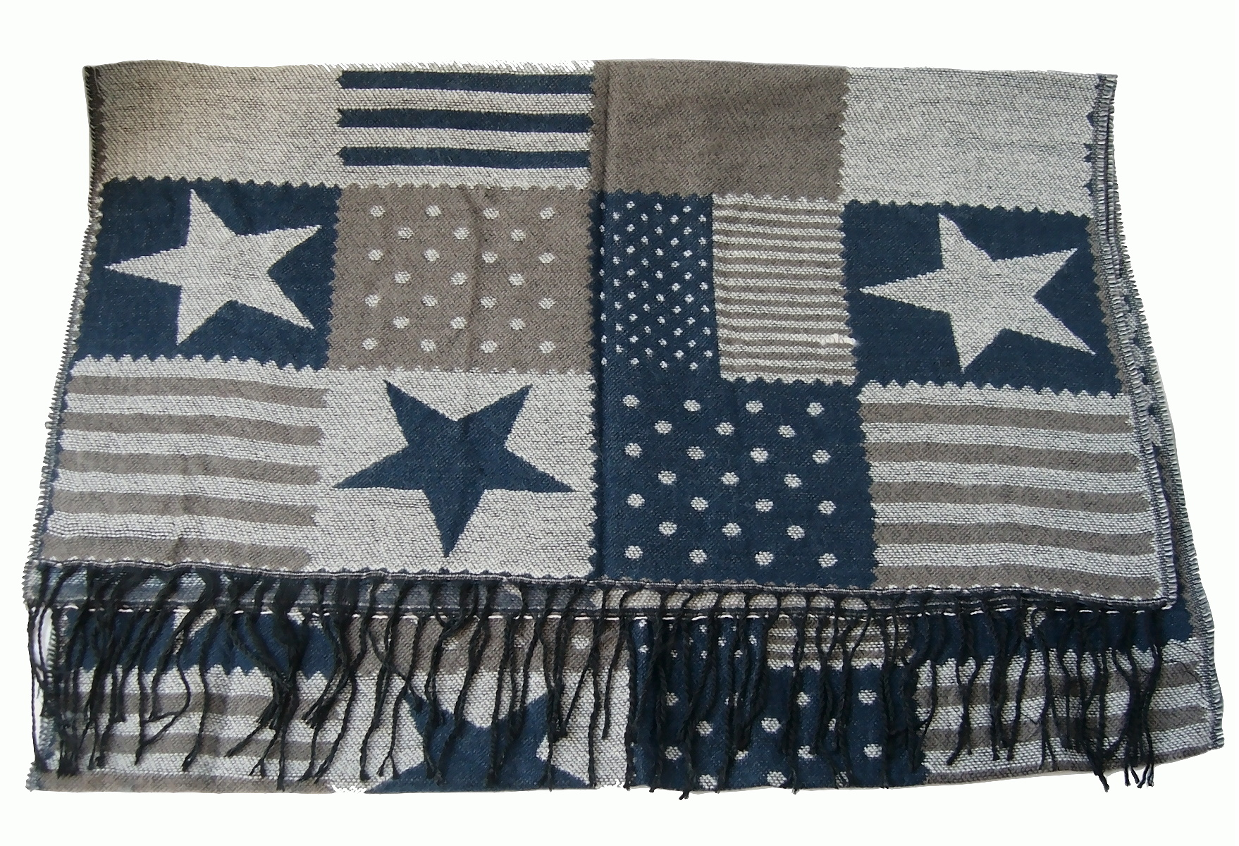Schal Winterschal Stars and Stripes Sterne 180cm dunkelblau grau T2850