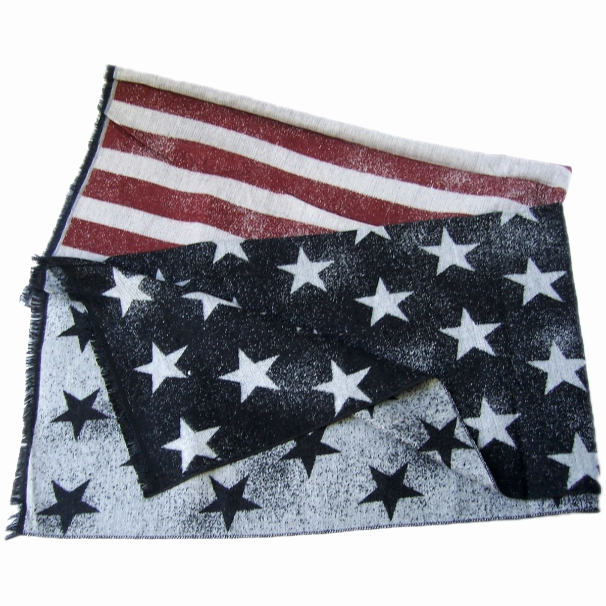 Schal Winter Stars and Stripes Sterne 185cm schwarz grau rot T2861