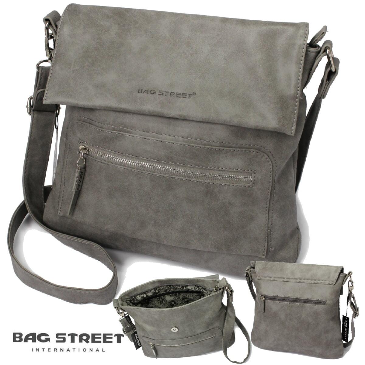 Tasche Umhängetasche Handtasche LederLook stone grau Bag Street Ta5241