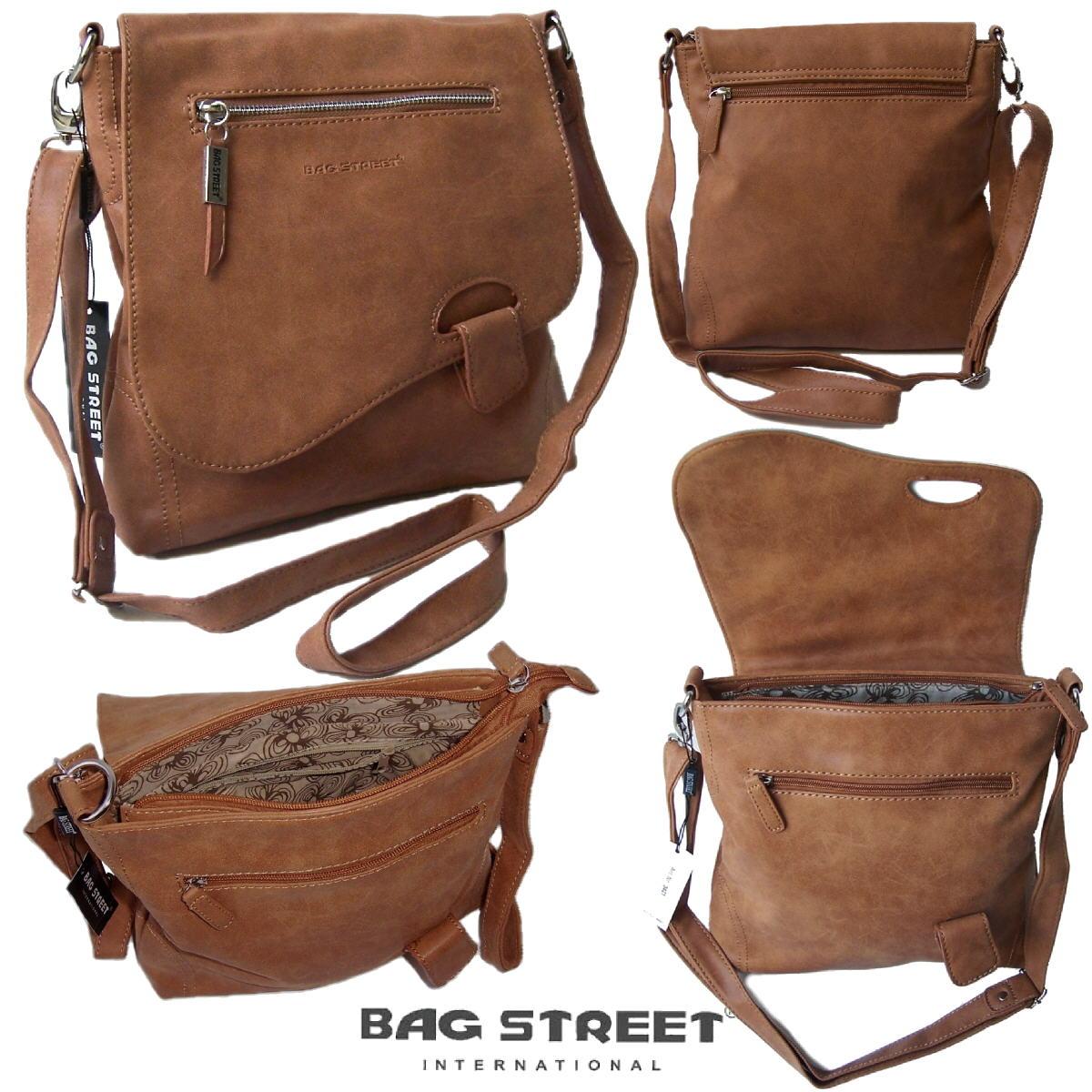 Tasche Umhängetasche Handtasche Leder-Look camel Bag Street Ta5245