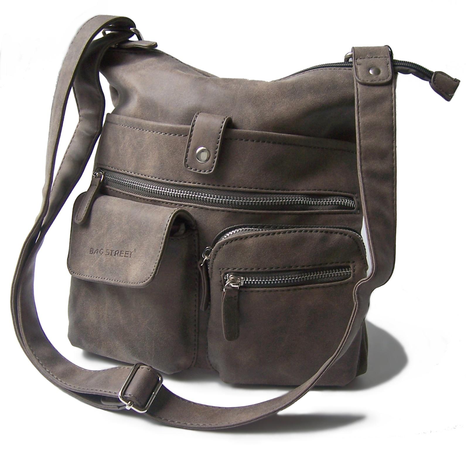 Tasche Handtasche Schultertasche Bag Street taupe Damen Ta6029