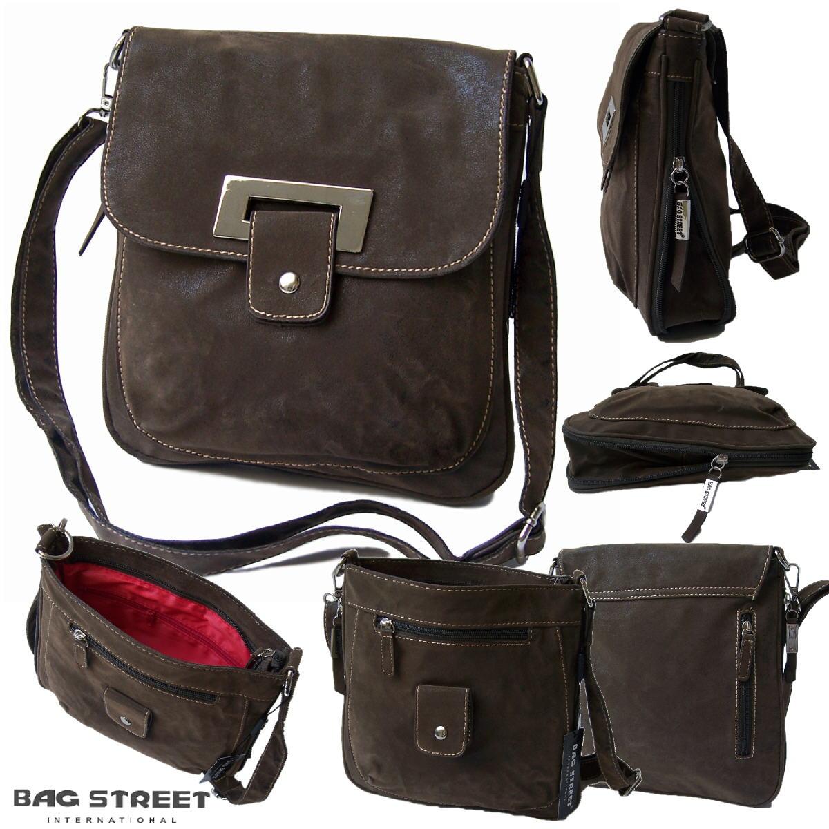 Tasche Umhängetasche Handtasche Leder-Look braun Bag Street Ta6040