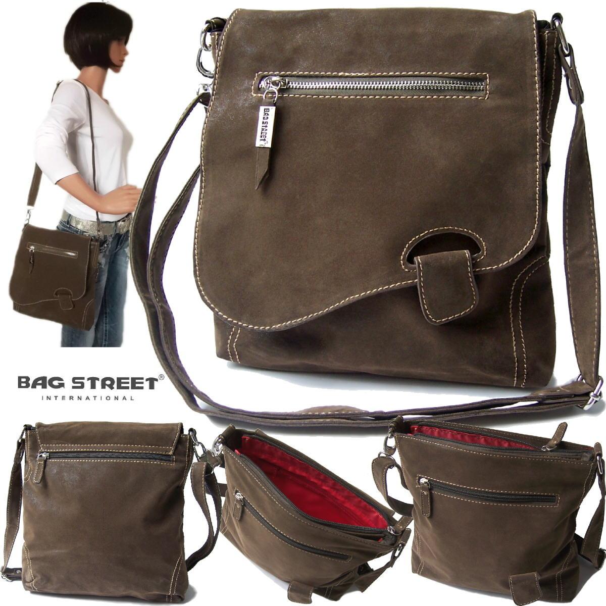 Tasche Umhängetasche Handtasche Leder-Look braun Bag Street Ta6041