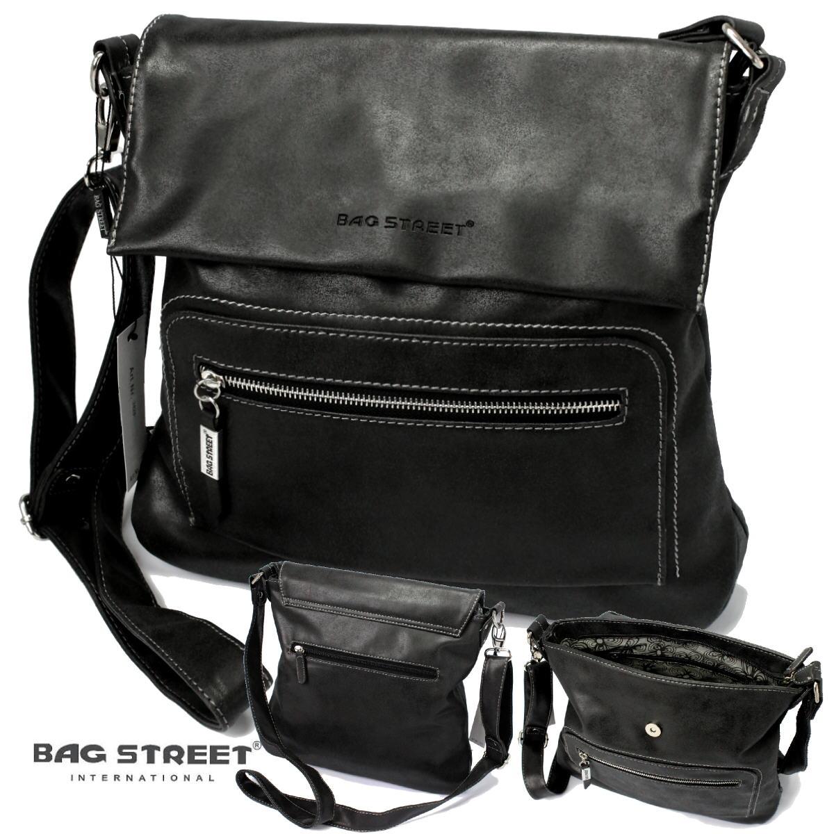 Tasche Umhängetasche Handtasche Leder-Look schwarz Bag Street Ta7003