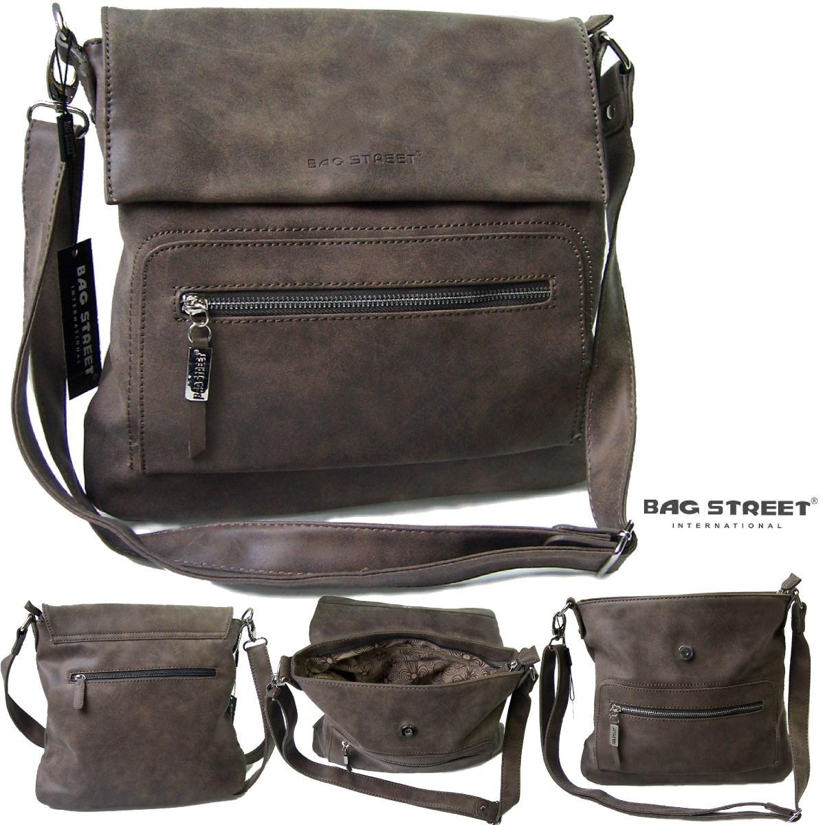 Tasche Umhängetasche Handtasche Leder-Look taupe Bag Street Ta7006*
