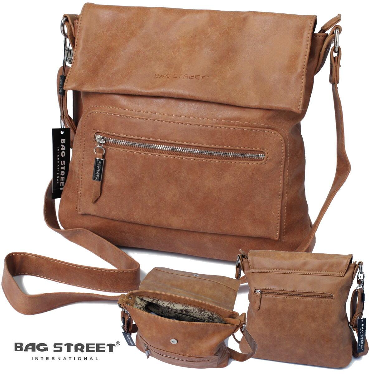 Tasche Umhängetasche Handtasche Bag Street Leder-Look camel Ta7023