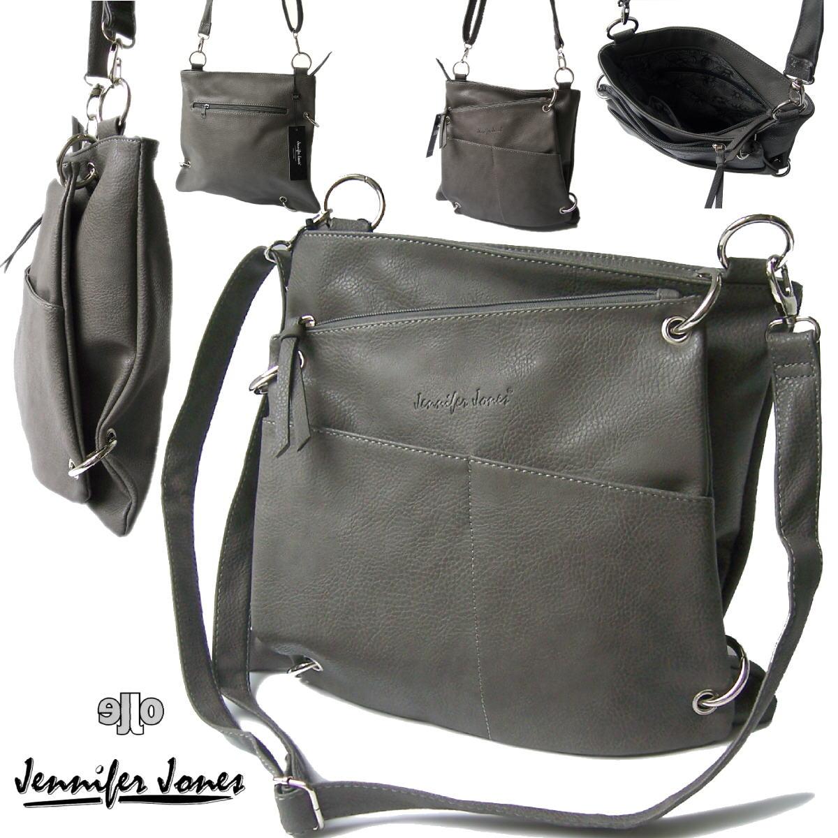 Tasche Handtasche 2in1 Schultertasche Jennifer Jones grau Damen Ta7024