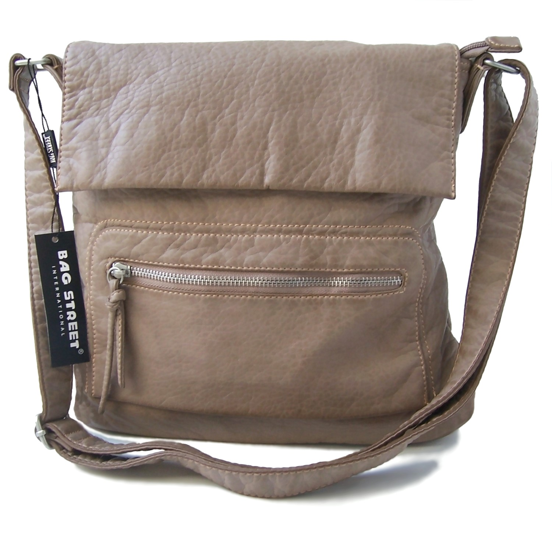 Handtasche Umhängetasche Leder-Look Taupe Damen Bag Street Ta7032