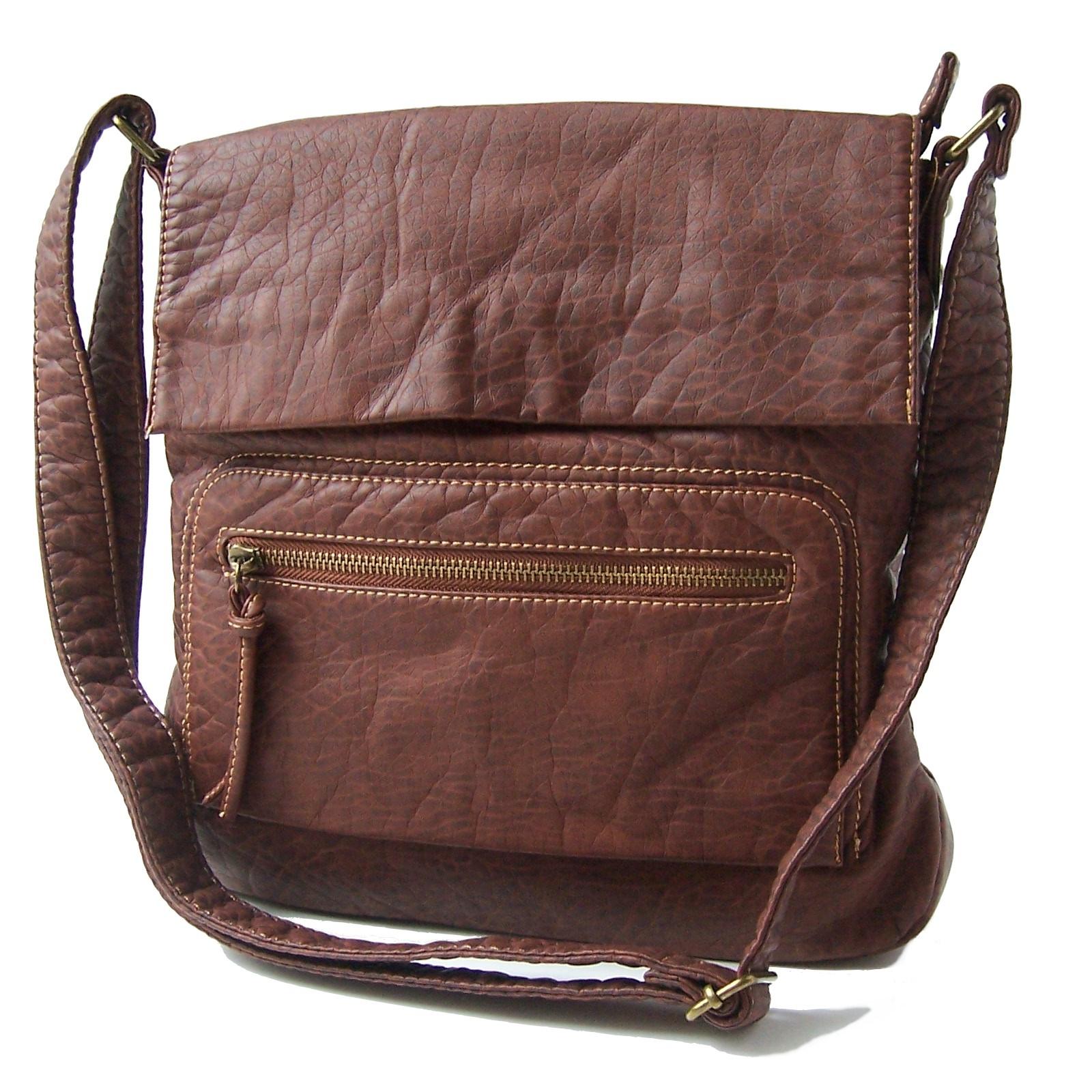 Handtasche Umhängetasche Leder-Look braun Damen Bag Street Ta7046