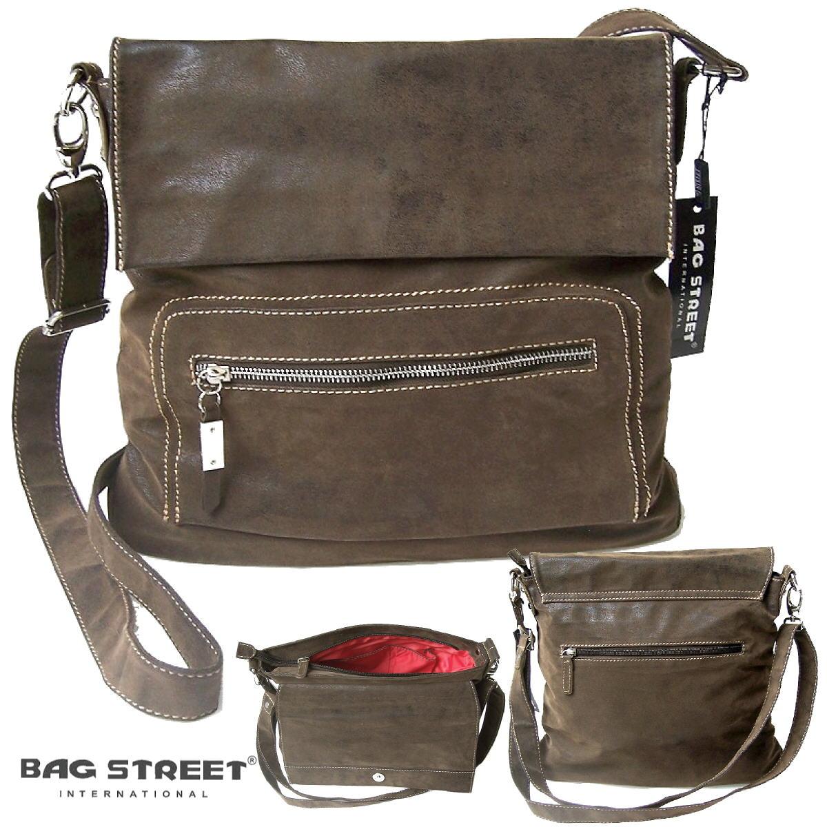 Tasche Umhängetasche Handtasche Bag Street braun Leder-look Ta812