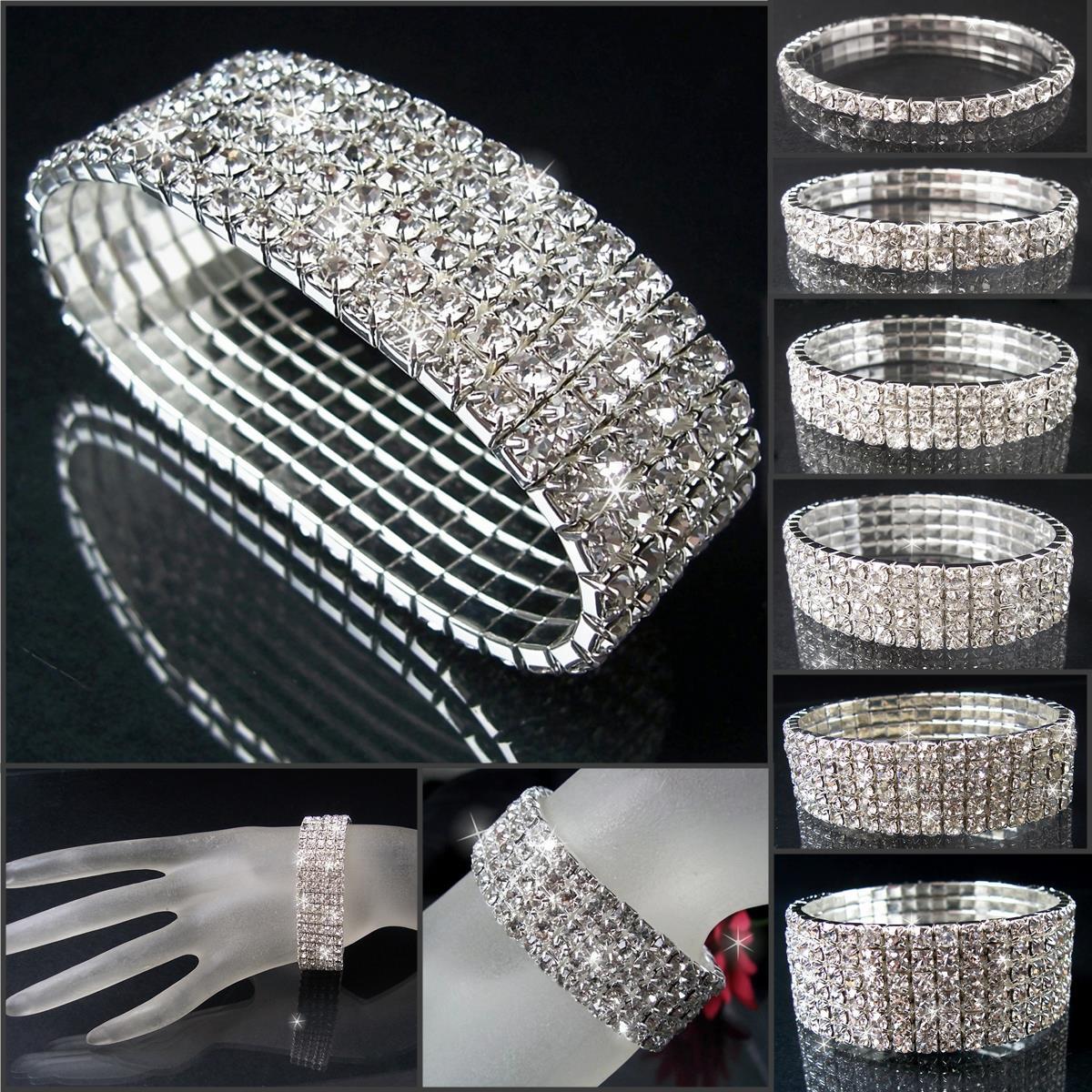 Armband Silber pl. stretch 22mm Strass Braut Schmuck Damen VA34