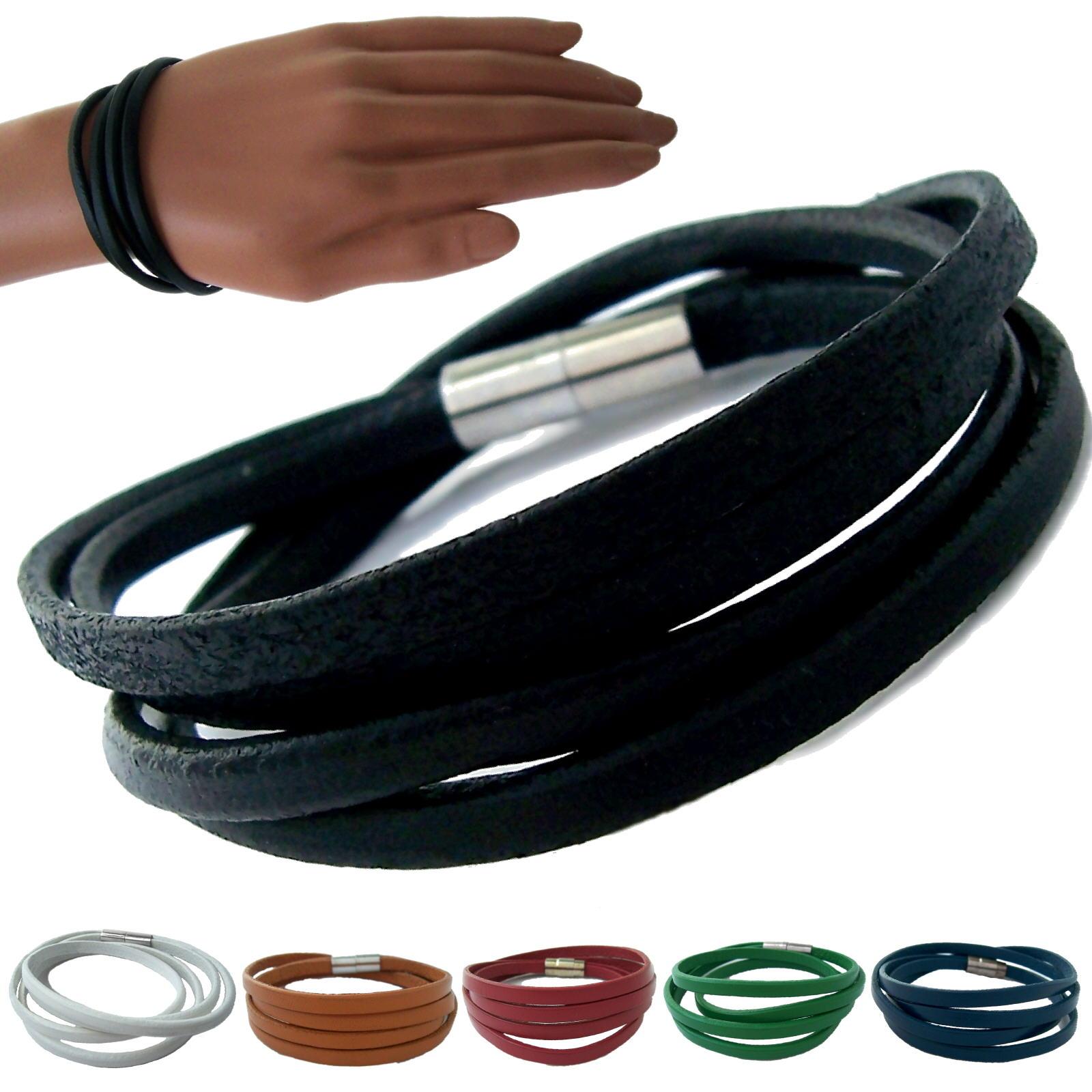 Armband Herren Damen echt Leder 4-lagig Magnetschließe Edelstahl VA4