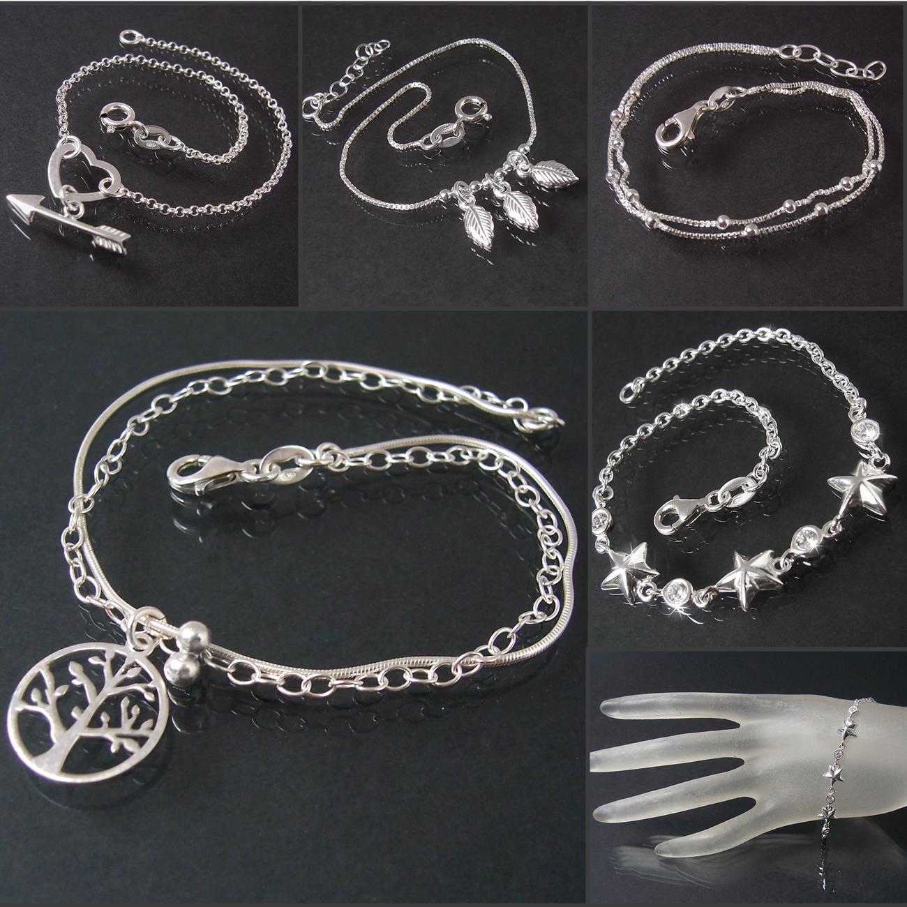 Armband Armkette 925 Silber Zirkonia 17-19cm Herz Lebensbaum Sterne ... bdf585f62f