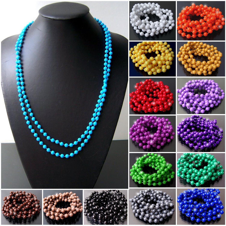 Perlenkette 140cm lang Perlen rund 5mm Wickelkette VKX2