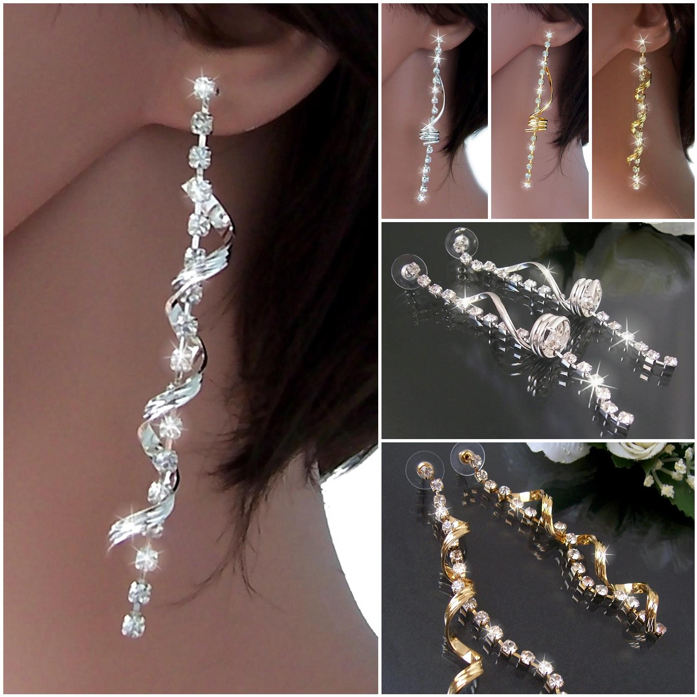 Ohrringe lang 9cm Schmuck Damen Strass Gold Silber Anhänger Spirale Twist VO15