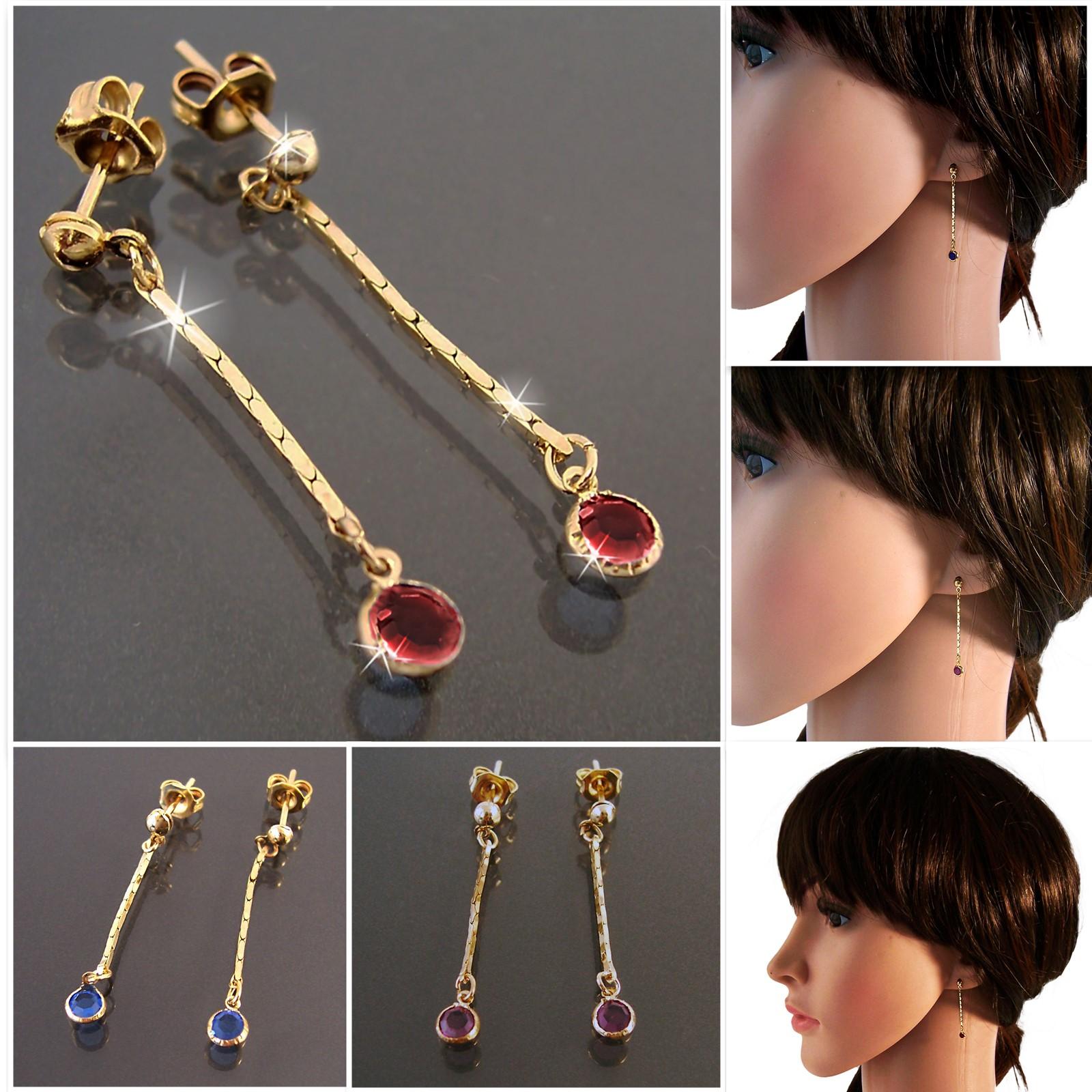 Ohrringe Stecker Ohrhänger 3cm Gold plattiert Zirkonia Schmuck VO21
