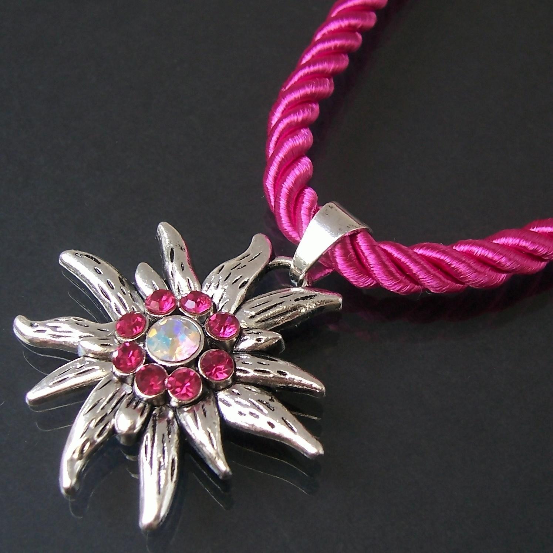 Halskette Tracht Dirndl Edelweiss satinierte Kordelkette pink ZK34