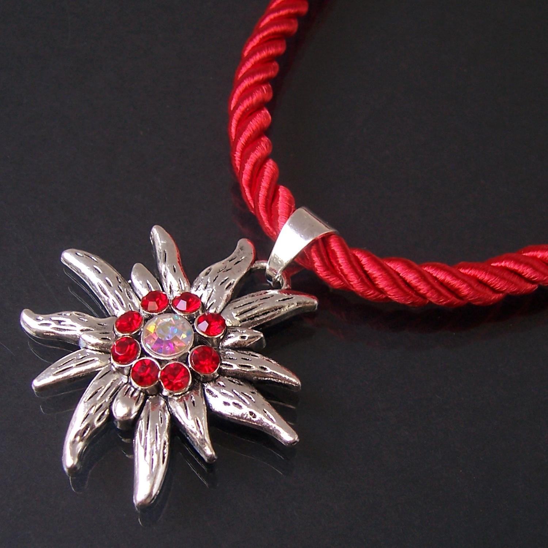 Halskette Tracht Dirndl Edelweiss satinierte Kordelkette rot ZK65